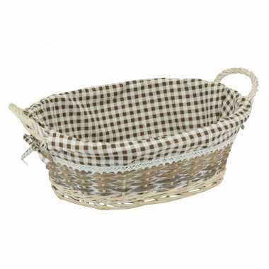 1x ovale rieten broodmand met voering en grepen 40 x 30 cm