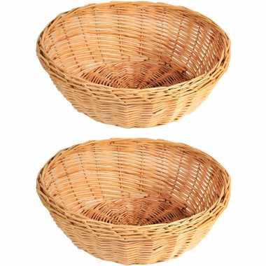 2x gevlochten rieten fruitmanden/broodmanden rond 36 x 11 cm