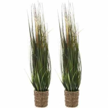 2x groene grasplanten kunstplanten 100 cm in rieten mand