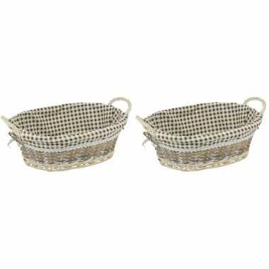 2x ovale rieten broodmand met voering en grepen 40 x 30 cm