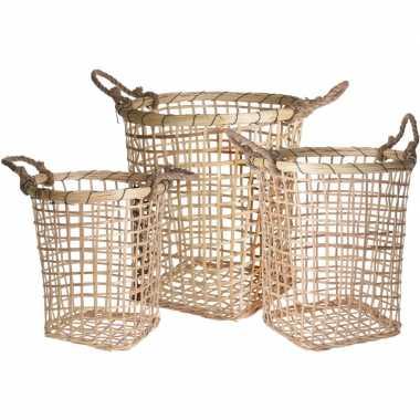 3x houten/rieten manden met touw handvaten