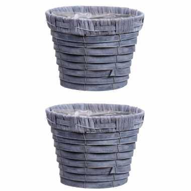 3x stuks bloempot/plantenbak handgemaakt riet/rotan mand grijs 16 x 13cm