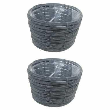 3x stuks bloempot/plantenbak handgemaakt riet/rotan mand grijs 21 x 14 cm