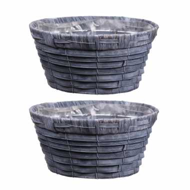 4x stuks bloempot/plantenbak mand handgemaakt riet/rotan grijs 20 x 10 cm