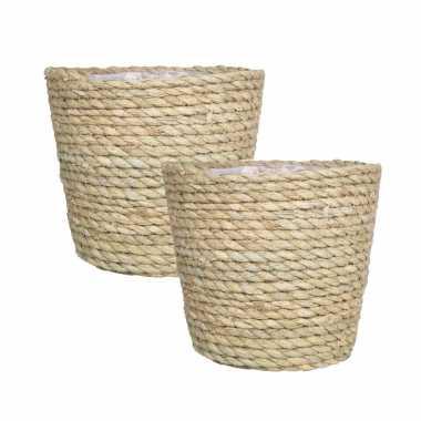 4x stuks naturel plantenpot/bloempot mand van gedraaid touw/riet 22 cm