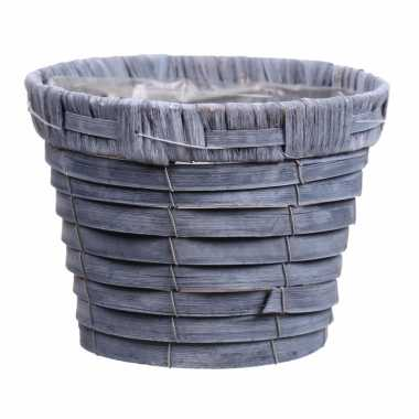 Bloempot/plantenbak handgemaakt riet/rotan mand grijs 16 x 13cm