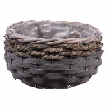 Bloempot/plantenbak handgemaakt riet/rotan mand grijs 26 x 15 cm