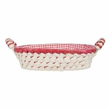 Gestoffeerd ovaal mandje met keramieken handvaten medium rood