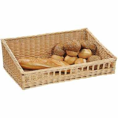Gevlochten rieten fruitmand/broodmand rechthoekig 40 x 60 x 11/20 cm