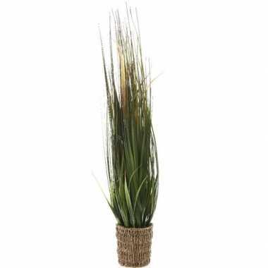 Groene grasplant kunstplant 80 cm in rieten mand