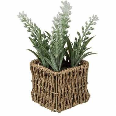 Kunstplant witte lavendel in rieten mandje 19 cm