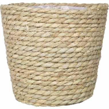 Naturel plantenpot/bloempot mand van gedraaid touw/riet 22 cm