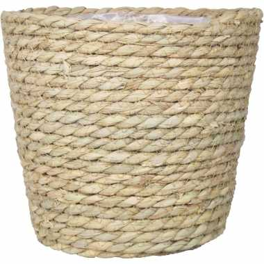 Naturel rotan mand van gedraaid touw/riet 17,5 cm