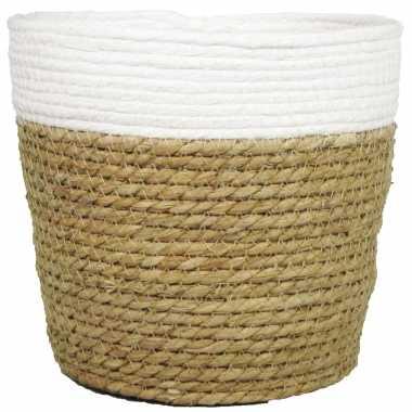 Naturel/witte rontan mand van gedraaid touw/riet 20,5 cm