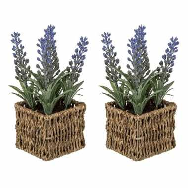 Set van 2x stuks kunstplanten paarse lavendel in rieten mandje 19 cm