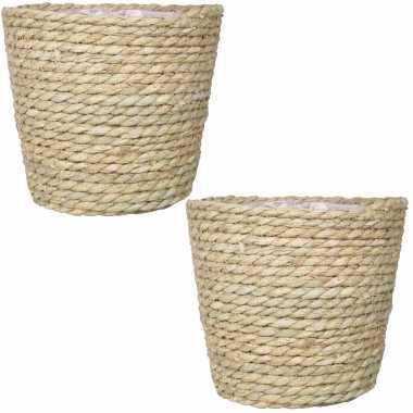 Set van 2x stuks naturel plantenpotten/bloempotten mand van gedraaid touw/riet 22 cm