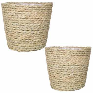 Set van 2x stuks naturel plantenpotten/bloempotten mand van gedraaid touw/riet 22 en 24 cm