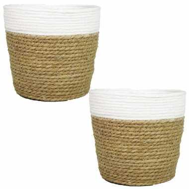 Set van 2x stuks naturel/witte rotan manden van gedraaid touw/riet 17,5 cm