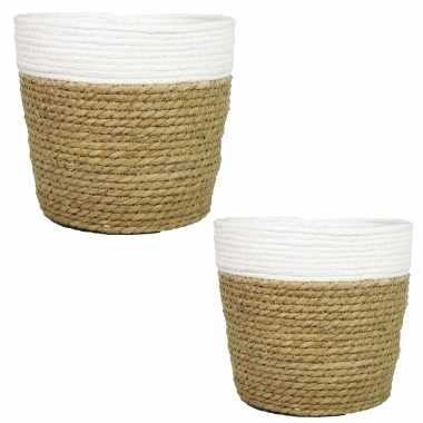 Set van 2x stuks naturel/witte rotan manden van gedraaid touw/riet 17,5 en 22 cm