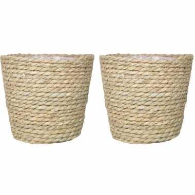 Set van 4x stuks naturel rotan manden van gedraaid touw/riet 19 cm