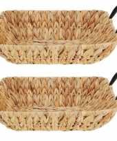 2x decoratie manden van riet rechthoekig 36 x 27 cm