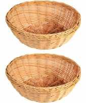 2x gevlochten rieten fruitmanden broodmanden rond 36 x 11 cm