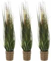 3x groene grasplanten kunstplanten 100 cm in rieten mand