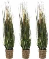 3x groene grasplanten kunstplanten 80 cm in rieten mand
