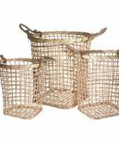 3x houten rieten manden met touw handvaten