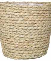 Naturel plantenpot bloempot mand van gedraaid touw riet 22 cm