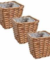Set van 3x stuks bloempotten plantenbakken riet rotan mand vierkant 15 x 15 x 13 cm