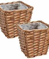 Set van 4x stuks bloempotten plantenbakken riet rotan mand vierkant 15 x 15 x 13 cm